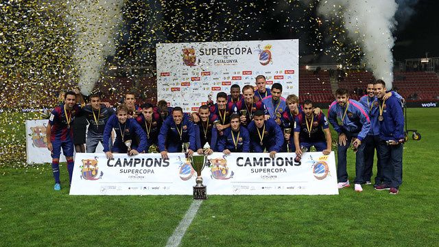 Football : FC BARCELONA - RCD Espanyol 1-1 et 4-2 aux tirs au but (1-0). Supercoupe de Catalogne. Finale.