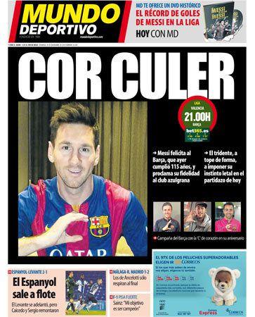 La Une de Mundo Deportivo aujourd'hui (30/11/2014) / La portada de Mundo Deportivo hoy (30/11/2014) / La portada de Mundo Deportivo avui (30/11/2014) / The today's Mundo Deportivo Cover (11/30/2014)