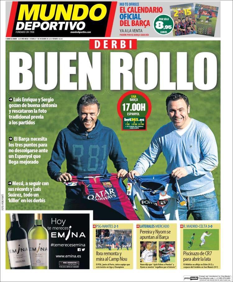 La Une de Mundo Deportivo aujourd'hui (07/12/2014) / La portada de Mundo Deportivo hoy (07/12/2014) / La portada de Mundo Deportivo avui (07/12/2014) / The today's Mundo Deportivo Cover (12/07/2014)