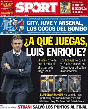 La Une de Sport aujourd'hui (15/12/2014) / La portada de Sport hoy (15/12/2014) / La portada de Sport avui (15/12/2014) / The today's Sport Cover (12/15/2014)