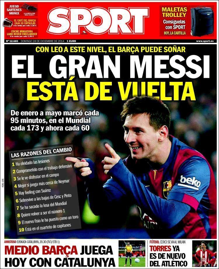 La Une de Sport aujourd'hui (28/12/2014) / La portada de Sport hoy (28/12/2014) / La portada de Sport avui (28/12/2014) / The today's Sport Cover (12/28/2014)