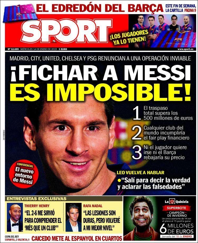 La Une de Sport aujourd'hui (14/01/2015) / La portada de Sport hoy (14/01/2015) / La portada de Sport avui (14/01/2015) / The today's Sport Cover (01/14/2015)