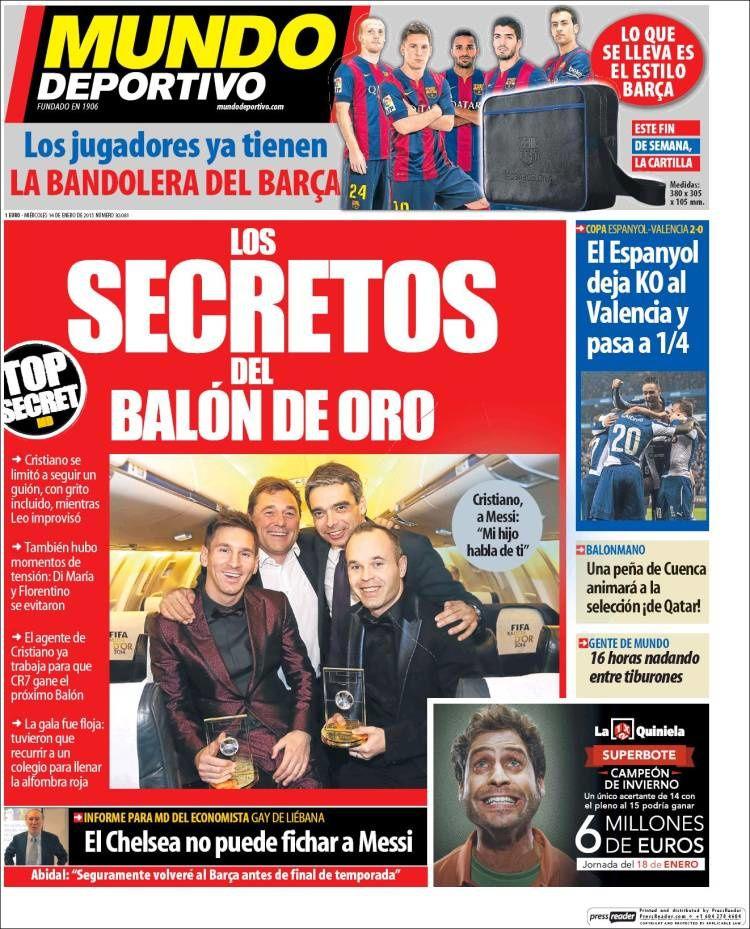 La Une de Mundo Deportivo aujourd'hui (14/01/2015) / La portada de Mundo Deportivo hoy (14/01/2015) / La portada de Mundo Deportivo avui (14/01/2015) / The today's Mundo Deportivo Cover (01/14/2015)
