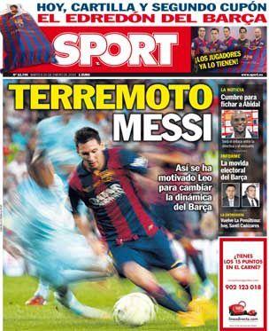 La Une de Sport aujourd'hui (20/01/2015) / La portada de Sport hoy (20/01/2015) / La portada de Sport avui (20/01/2015) / The today's Sport Cover (01/20/2015)