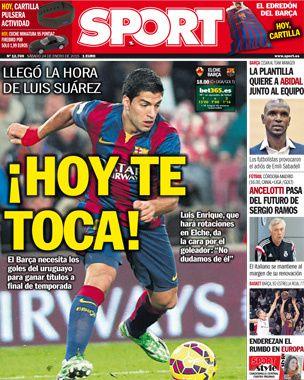 La Une de Sport aujourd'hui (24/01/2015) / La portada de Sport hoy (24/01/2015) / La portada de Sport avui (24/01/2015) / The today's Sport Cover (01/24/2015)