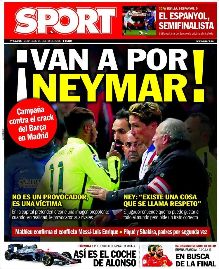 La Une de Sport aujourd'hui (30/01/2015) / La portada de Sport hoy (30/01/2015) / La portada de Sport avui (30/01/2015) / The today's Sport Cover (01/30/2015)