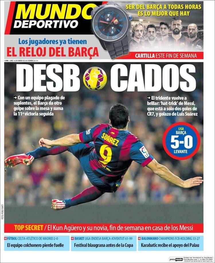 La Une de Mundo Deportivo aujourd'hui (16/02/2015) / La portada de Mundo Deportivo hoy (16/02/2015) / La portada de Mundo Deportivo avui (16/02/2015) / The today's Mundo Deportivo Cover (02/16/2015)