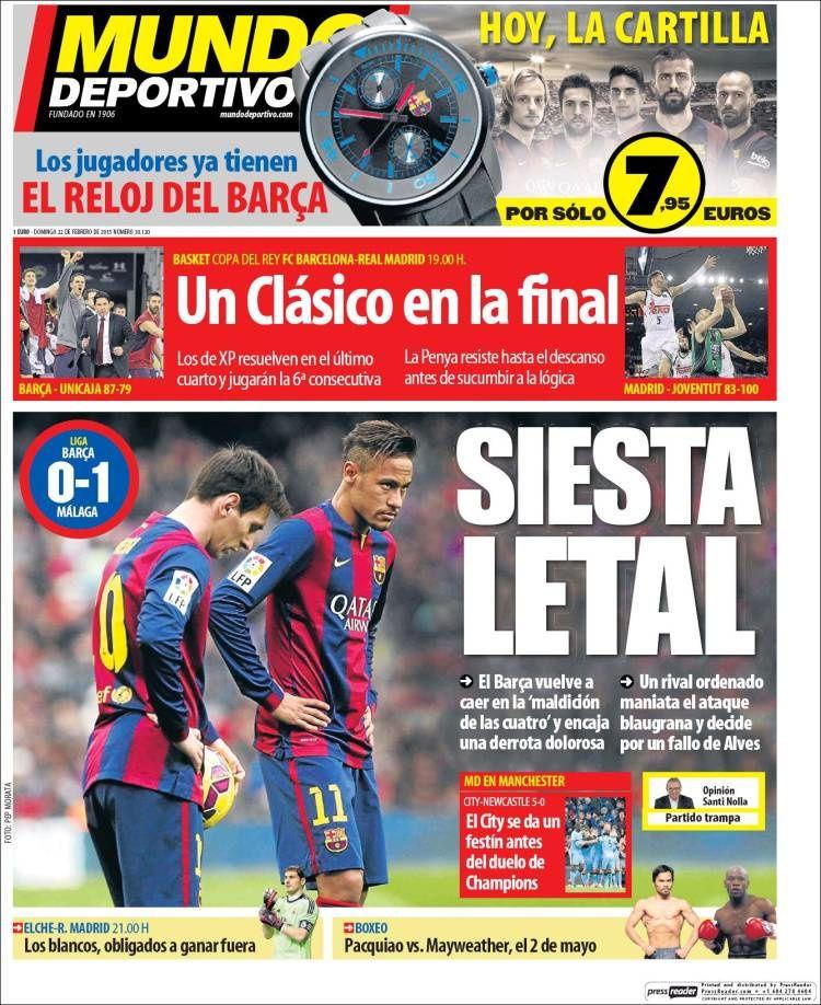 La Une de Mundo Deportivo aujourd'hui (22/02/2015) / La portada de Mundo Deportivo hoy (22/02/2015) / La portada de Mundo Deportivo avui (22/02/2015) / The today's Mundo Deportivo Cover (02/22/2015)