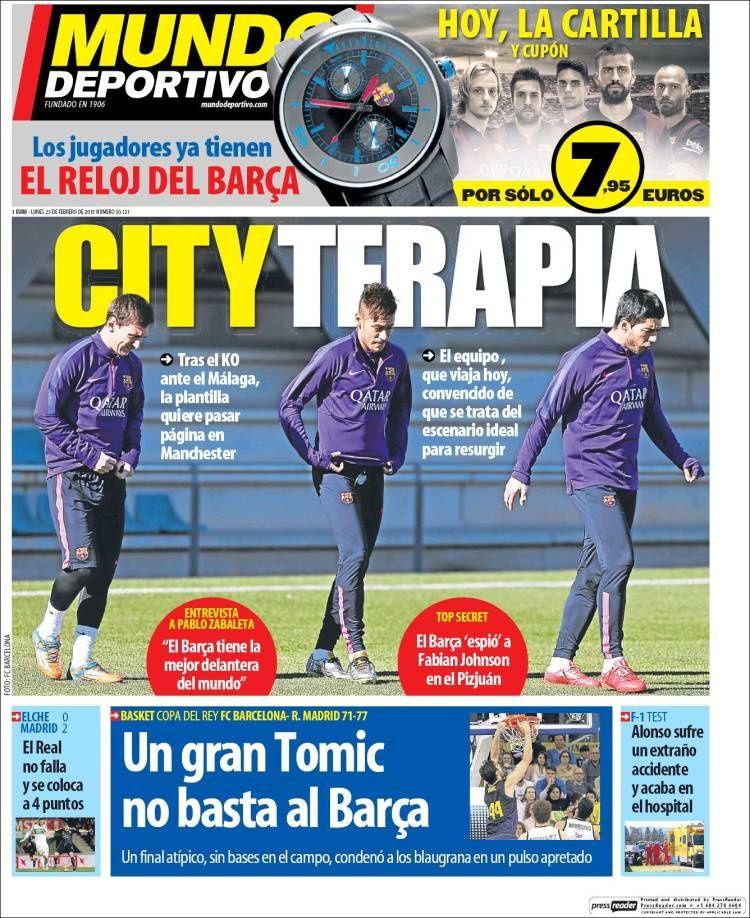 La Une de Mundo Deportivo aujourd'hui (23/02/2015) / La portada de Mundo Deportivo hoy (23/02/2015) / La portada de Mundo Deportivo avui (23/02/2015) / The today's Mundo Deportivo Cover (02/23/2015)