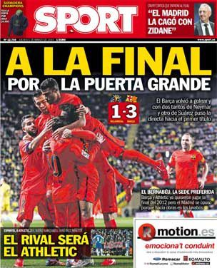 La Une de Sport aujourd'hui (05/03/2015) / La portada de Sport hoy (05/03/2015) / La portada de Sport avui (05/03/2015) / The today's Sport Cover (03/05/2015)