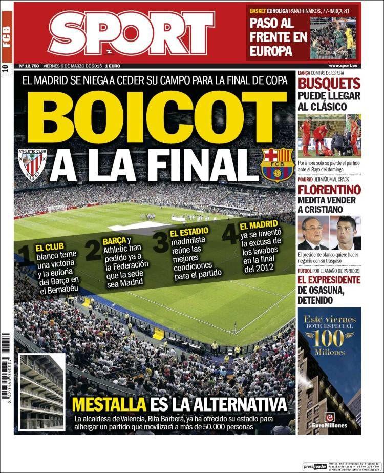 La Une de Sport aujourd'hui (06/03/2015) / La portada de Sport hoy (06/03/2015) / La portada de Sport avui (06/03/2015) / The today's Sport Cover (03/06/2015)