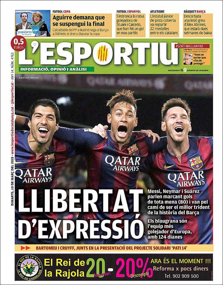 La Une de L'Esportiu aujourd'hui (10/03/2015) / La portada de L'Esportiu hoy (10/03/2015) / La portada de L'Esportiu avui (10/03/2015) / The today's L'Esportiu Cover (03/10/2015)