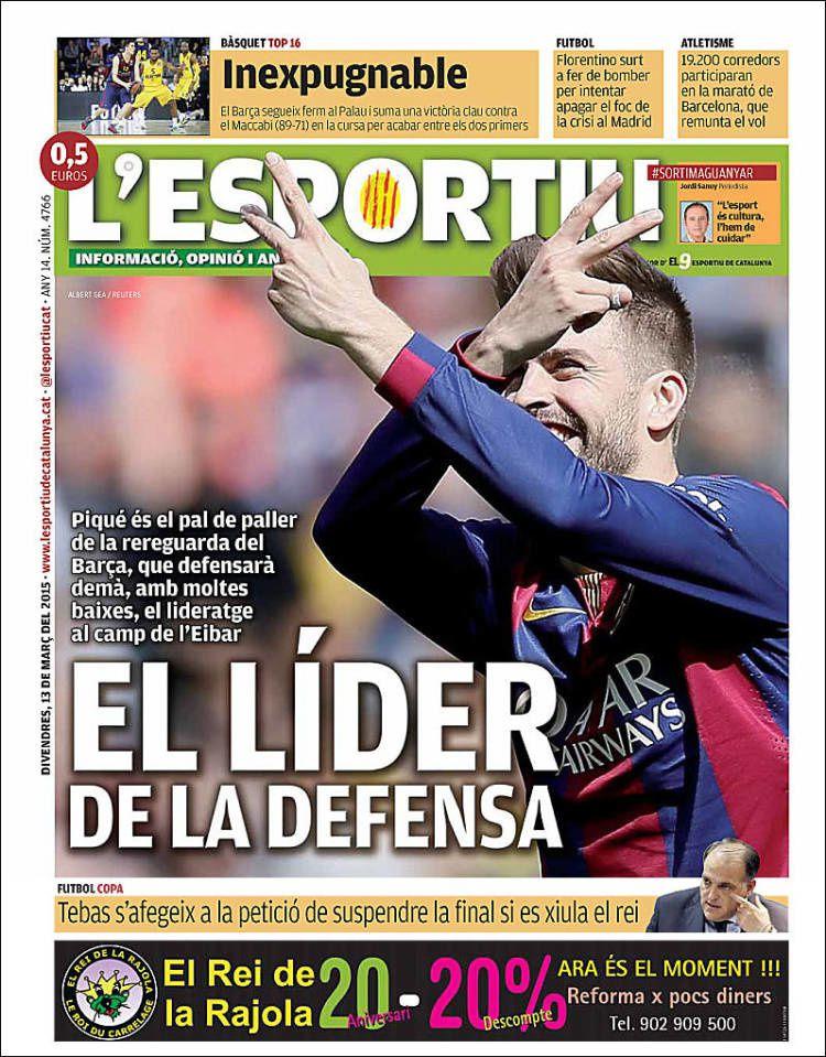 La Une de L'Esportiu aujourd'hui (13/03/2015) / La portada de L'Esportiu hoy (13/03/2015) / La portada de L'Esportiu avui (13/03/2015) / The today's L'Esportiu Cover (03/13/2015)