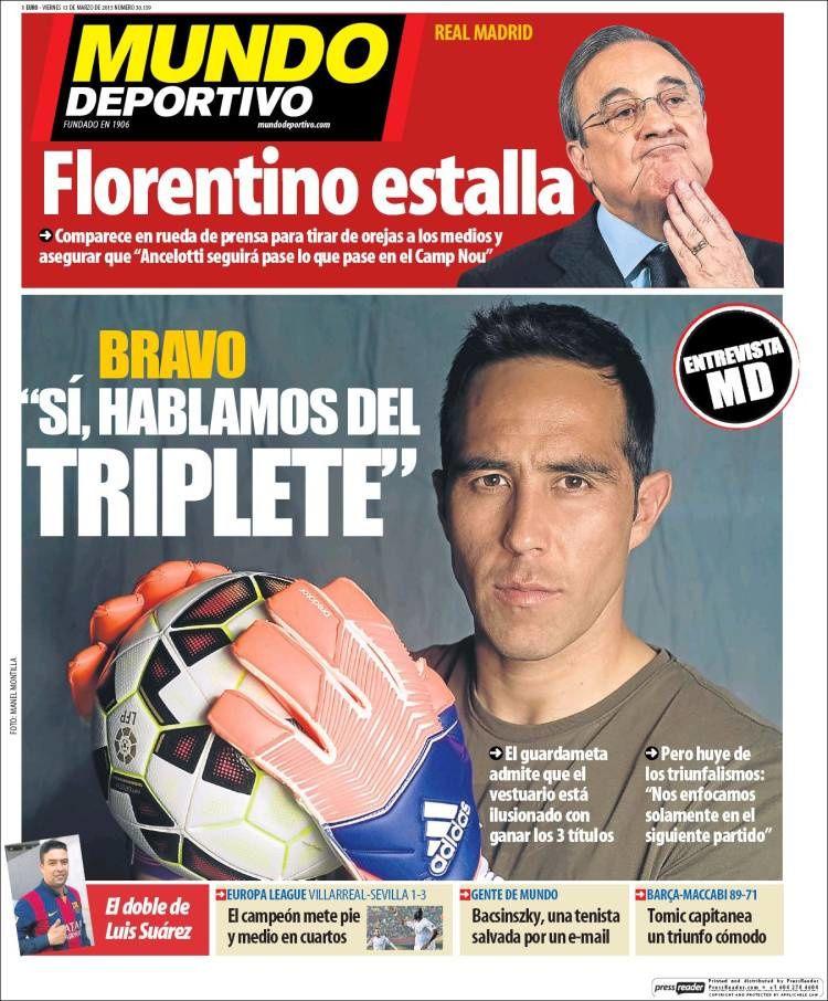 La Une de Mundo Deportivo aujourd'hui (13/03/2015) / La portada de Mundo Deportivo hoy (13/03/2015) / La portada de Mundo Deportivo avui (13/03/2015) / The today's Mundo Deportivo Cover (03/13/2015)
