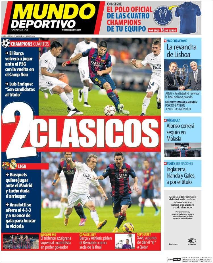 La Une de Mundo Deportivo aujourd'hui (21/03/2015) / La portada de Mundo Deportivo hoy (21/03/2015) / La portada de Mundo Deportivo avui (21/03/2015) / The today's Mundo Deportivo Cover (03/21/2015)