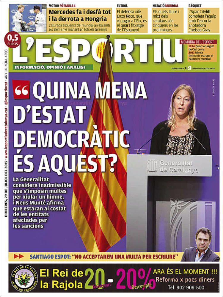 La Une de L'Esportiu aujourd'hui (29/07/2015) / La portada de L'Esportiu hoy (29/07/2015) / La portada de L'Esportiu avui (29/07/2015) / The today's L'Esportiu Cover (07/29/2015)