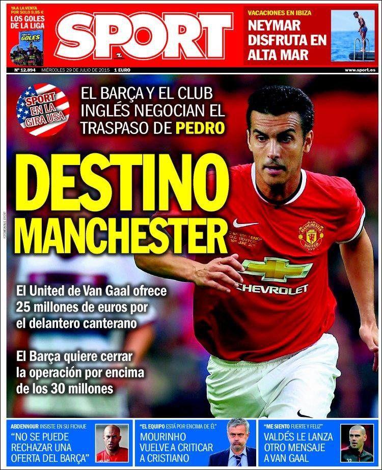 La Une de Sport aujourd'hui (29/07/2015) / La portada de Sport hoy (29/07/2015) / La portada de Sport avui (29/07/2015) / The today's Sport Cover (07/29/2015)
