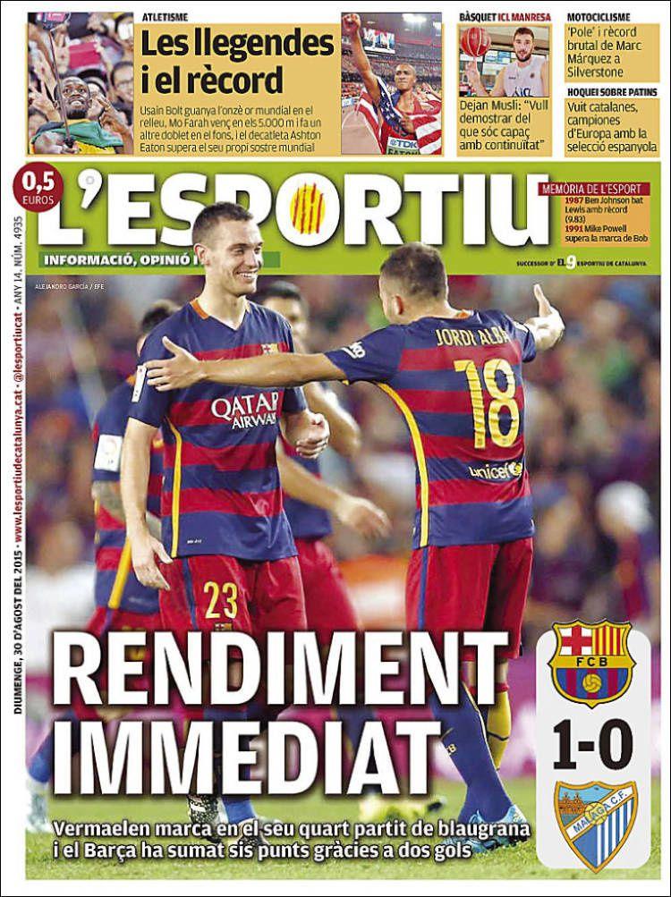 La Une de L'Esportiu aujourd'hui (30/08/2015) / La portada de L'Esportiu hoy (30/08/2015) / La portada de L'Esportiu avui (30/08/2015) / The today's L'Esportiu Cover (08/30/2015)