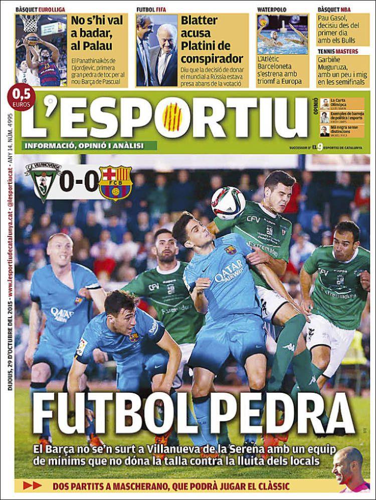 La Une de L'Esportiu aujourd'hui (29/10/2015) / La portada de L'Esportiu hoy (29/10/2015) / La portada de L'Esportiu avui (29/10/2015) / The today's L'Esportiu Cover (10/29/2015)