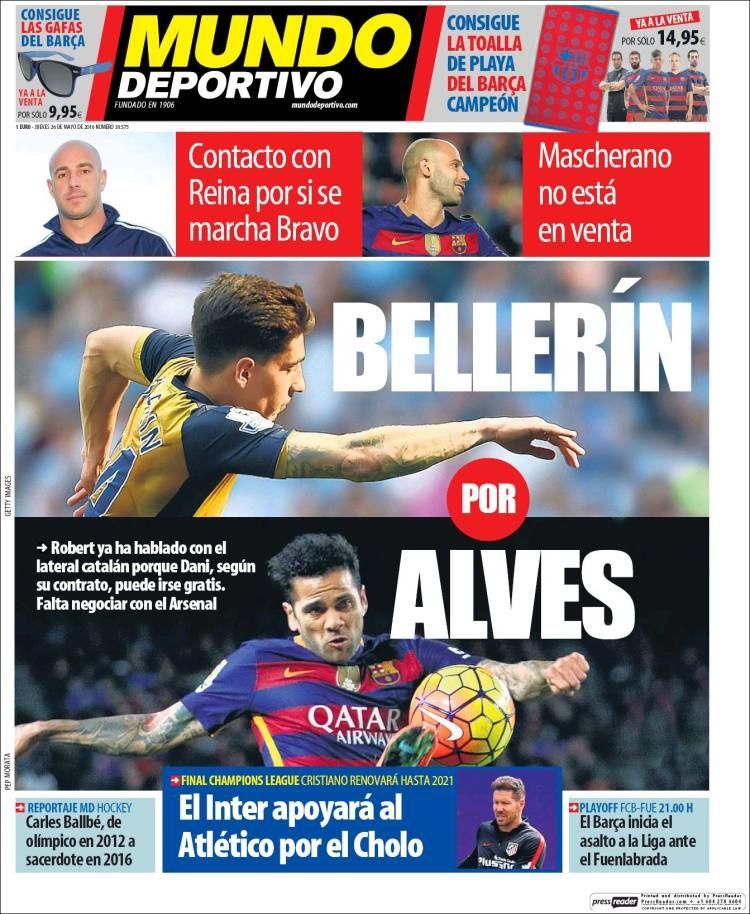 La Une de Mundo Deportivo aujourd'hui (26/05/2016) / La portada de Mundo Deportivo hoy (26/05/2016) / La portada de Mundo Deportivo avui (26/05/2016) / The today's Mundo Deportivo Cover (05/26/2016)