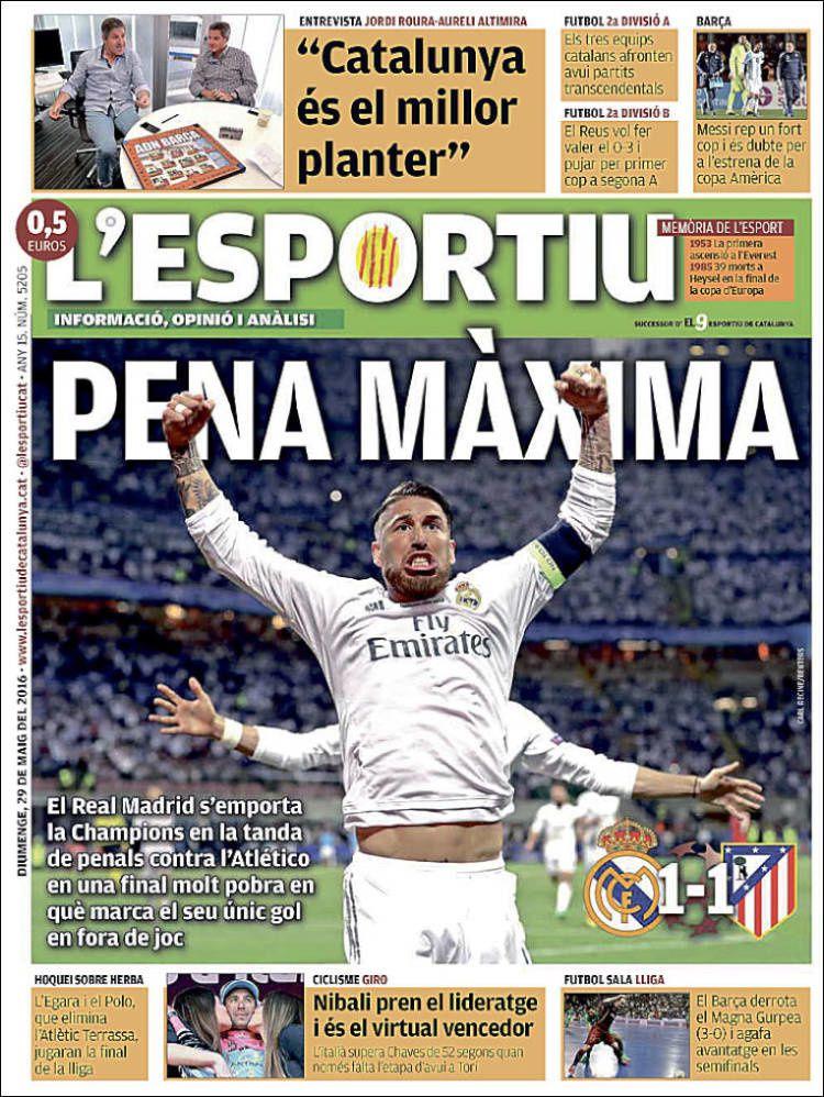 La Une de L'Esportiu aujourd'hui (29/05/2016) / La portada de L'Esportiu hoy (29/05/2016) / La portada de L'Esportiu avui (29/05/2016) / The today's L'Esportiu Cover (05/29/2016)