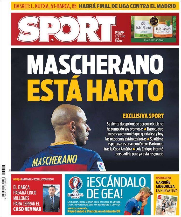 La Une de Sport aujourd'hui (11/06/2016) / La portada de Sport hoy (11/06/2016) / La portada de Sport avui (11/06/2016) / The today's Sport Cover (06/11/2016)