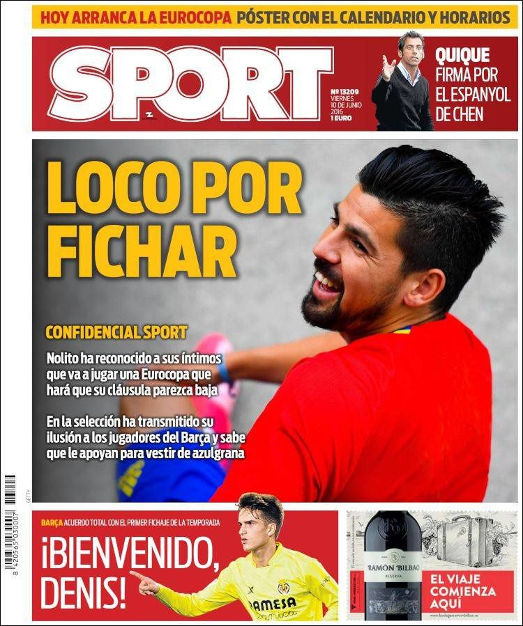 La Une de Sport aujourd'hui (10/06/2016) / La portada de Sport hoy (10/06/2016) / La portada de Sport avui (10/06/2016) / The today's Sport Cover (06/10/2016)