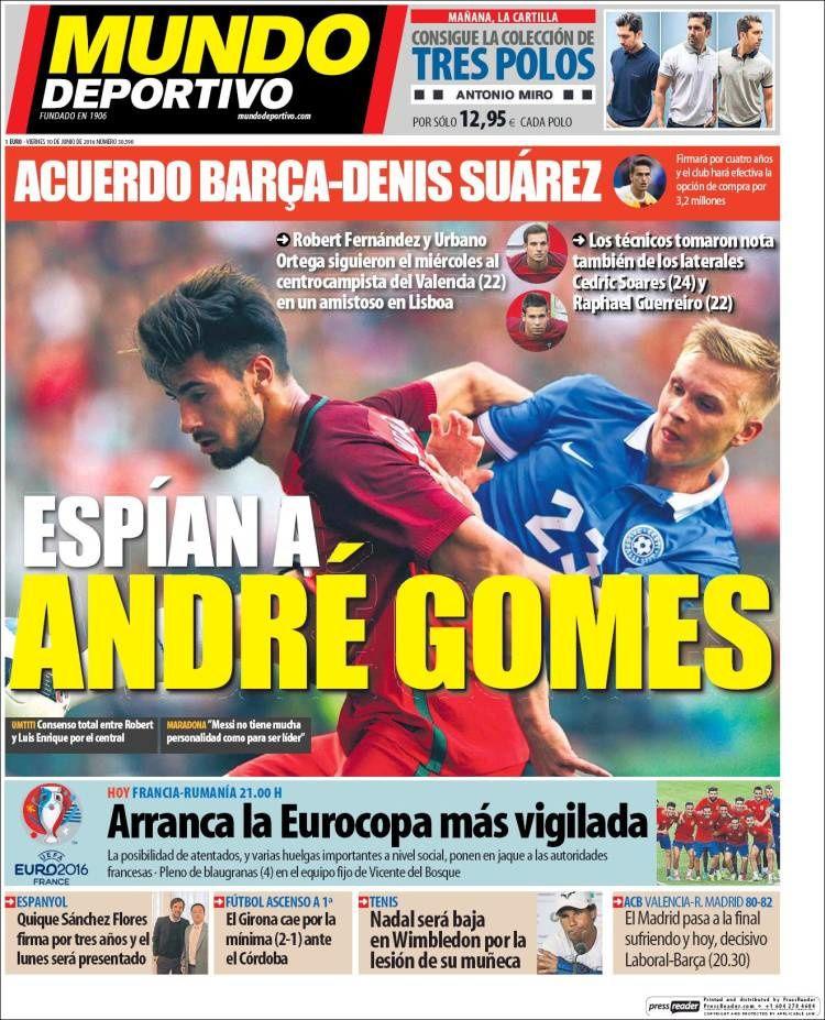 La Une de Mundo Deportivo aujourd'hui (10/06/2016) / La portada de Mundo Deportivo hoy (10/06/2016) / La portada de Mundo Deportivo avui (10/06/2016) / The today's Mundo Deportivo Cover (06/10/2016)