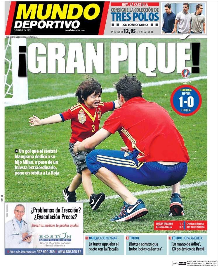 La Une de Mundo Deportivo aujourd'hui (14/06/2016) / La portada de Mundo Deportivo hoy (14/06/2016) / La portada de Mundo Deportivo avui (14/06/2016) / The today's Mundo Deportivo Cover (06/14/2016)