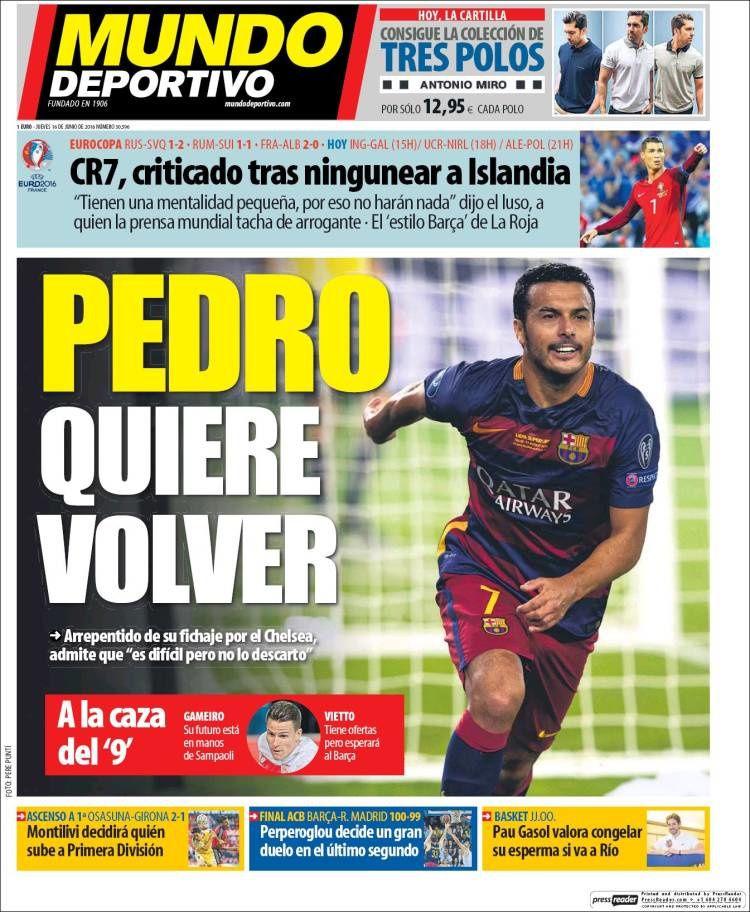 La Une de Mundo Deportivo aujourd'hui (16/06/2016) / La portada de Mundo Deportivo hoy (16/06/2016) / La portada de Mundo Deportivo avui (16/06/2016) / The today's Mundo Deportivo Cover (06/16/2016)