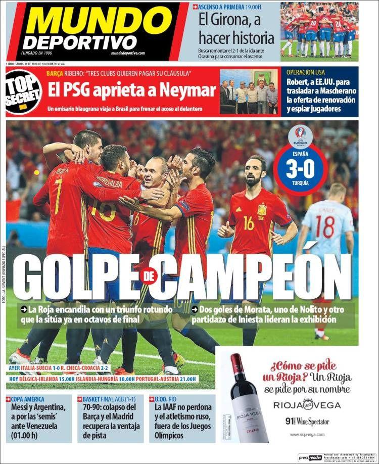 La Une de Mundo Deportivo aujourd'hui (18/06/2016) / La portada de Mundo Deportivo hoy (18/06/2016) / La portada de Mundo Deportivo avui (18/06/2016) / The today's Mundo Deportivo Cover (06/18/2016)