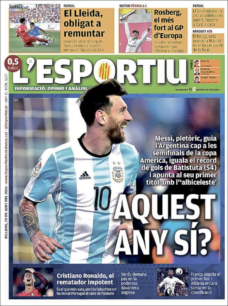 La Une de L'Esportiu aujourd'hui (20/06/2016) / La portada de L'Esportiu hoy (20/06/2016) / La portada de L'Esportiu avui (20/06/2016) / The today's L'Esportiu Cover (06/20/2016)