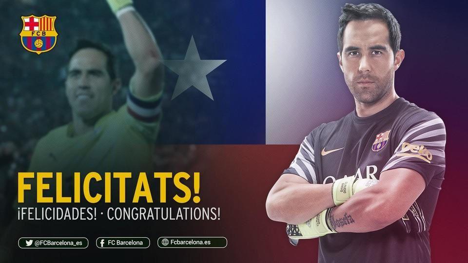 Le Barça félicite Claudio Bravo pour la Copa América