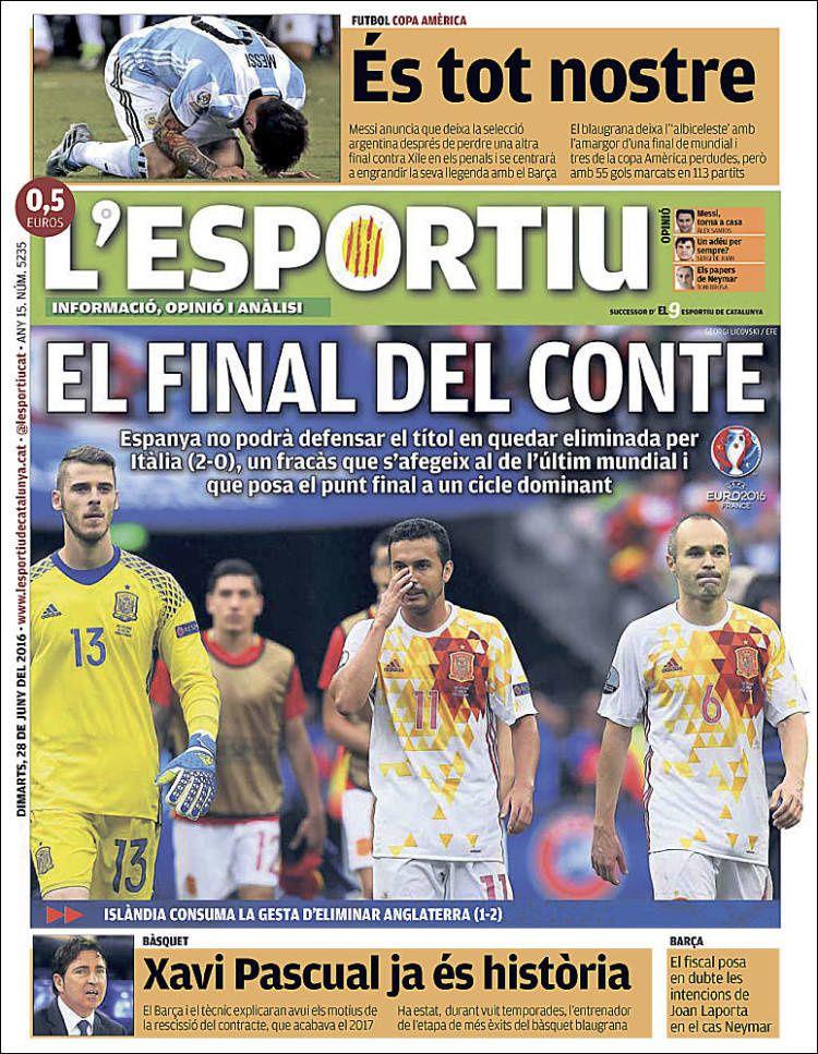 La Une de L'Esportiu aujourd'hui (28/06/2016) / La portada de L'Esportiu hoy (28/06/2016) / La portada de L'Esportiu avui (28/06/2016) / The today's L'Esportiu Cover (06/28/2016)
