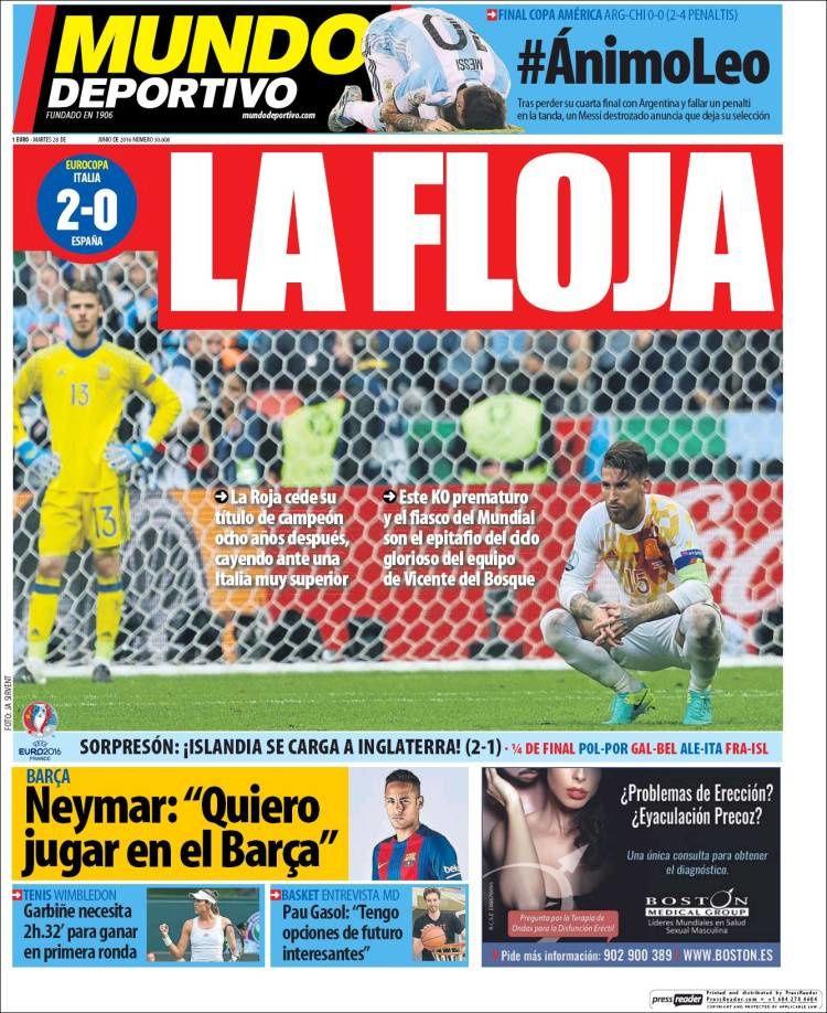 La Une de Mundo Deportivo aujourd'hui (28/06/2016) / La portada de Mundo Deportivo hoy (28/06/2016) / La portada de Mundo Deportivo avui (28/06/2016) / The today's Mundo Deportivo Cover (06/28/2016)