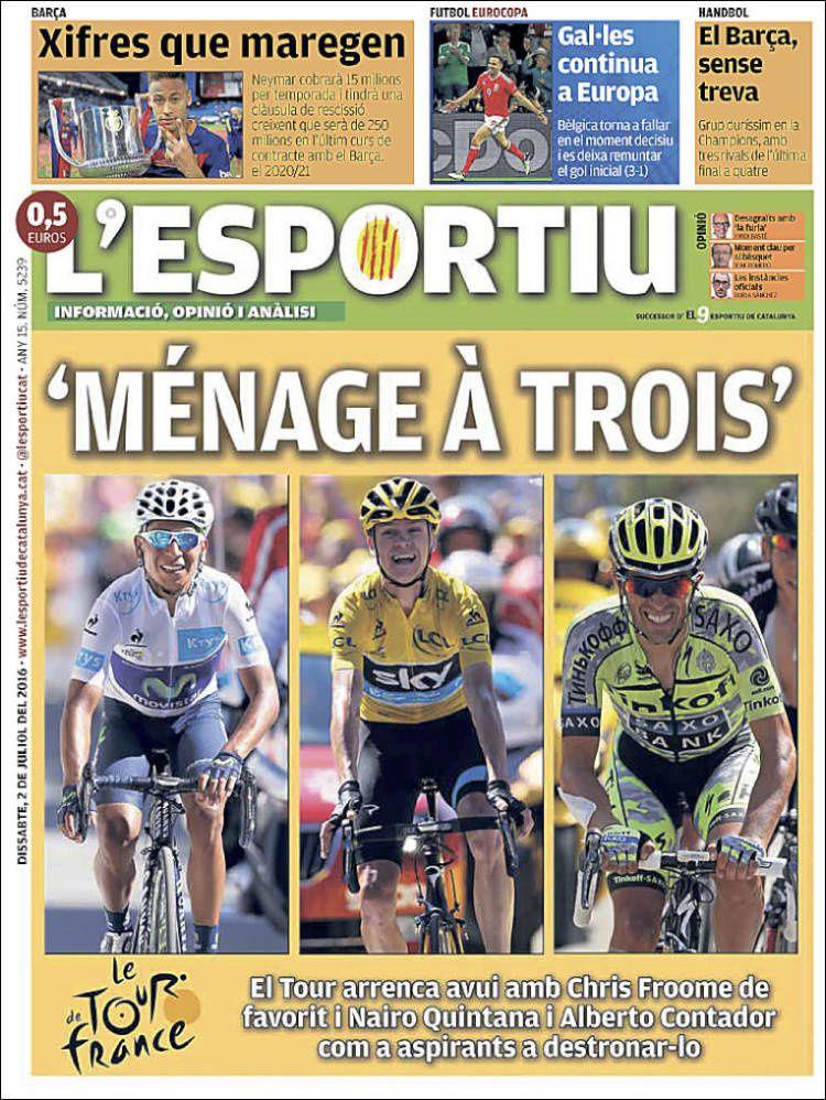 La Une de L'Esportiu aujourd'hui (02/07/2016) / La portada de L'Esportiu hoy (02/07/2016) / La portada de L'Esportiu avui (02/07/2016) / The today's L'Esportiu Cover (07/02/2016)