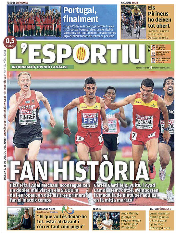 La Une de L'Esportiu aujourd'hui (11/07/2016) / La portada de L'Esportiu hoy (11/07/2016) / La portada de L'Esportiu avui (11/07/2016) / The today's L'Esportiu Cover (07/11/2016)