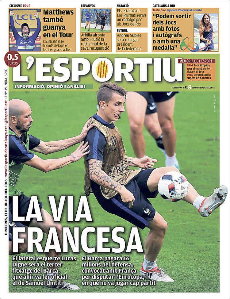 La Une de L'Esportiu aujourd'hui (13/07/2016) / La portada de L'Esportiu hoy (13/07/2016) / La portada de L'Esportiu avui (13/07/2016) / The today's L'Esportiu Cover (07/13/2016)