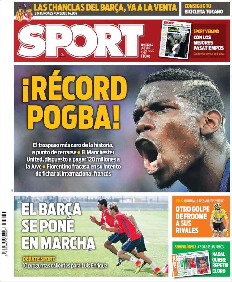 La Une de Sport aujourd'hui (21/07/2016) / La portada de Sport hoy (21/07/2016) / La portada de Sport avui (21/07/2016) / The today's Sport Cover (07/21/2016)
