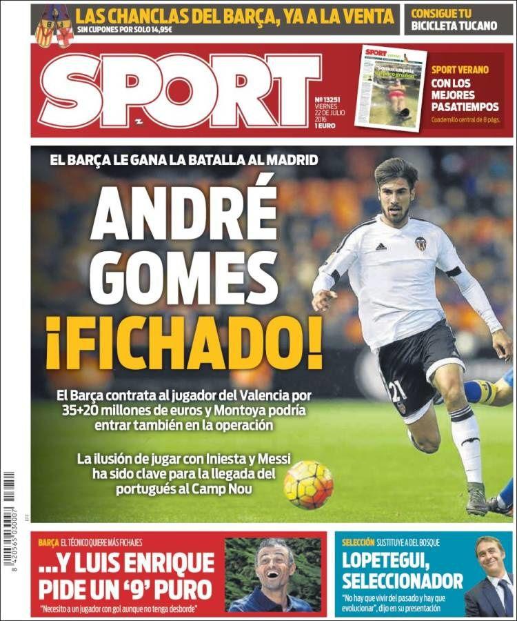 La Une de Sport aujourd'hui (22/07/2016) / La portada de Sport hoy (22/07/2016) / La portada de Sport avui (22/07/2016) / The today's Sport Cover (07/22/2016)