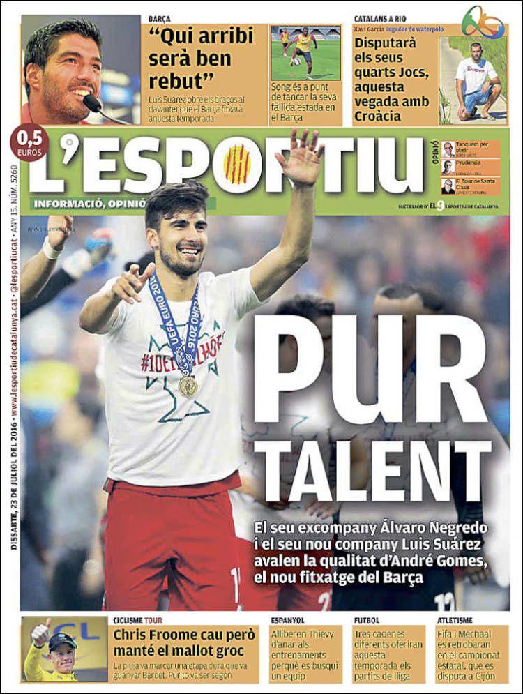 La Une de L'Esportiu aujourd'hui (23/07/2016) / La portada de L'Esportiu hoy (23/07/2016) / La portada de L'Esportiu avui (23/07/2016) / The today's L'Esportiu Cover (07/23/2016)