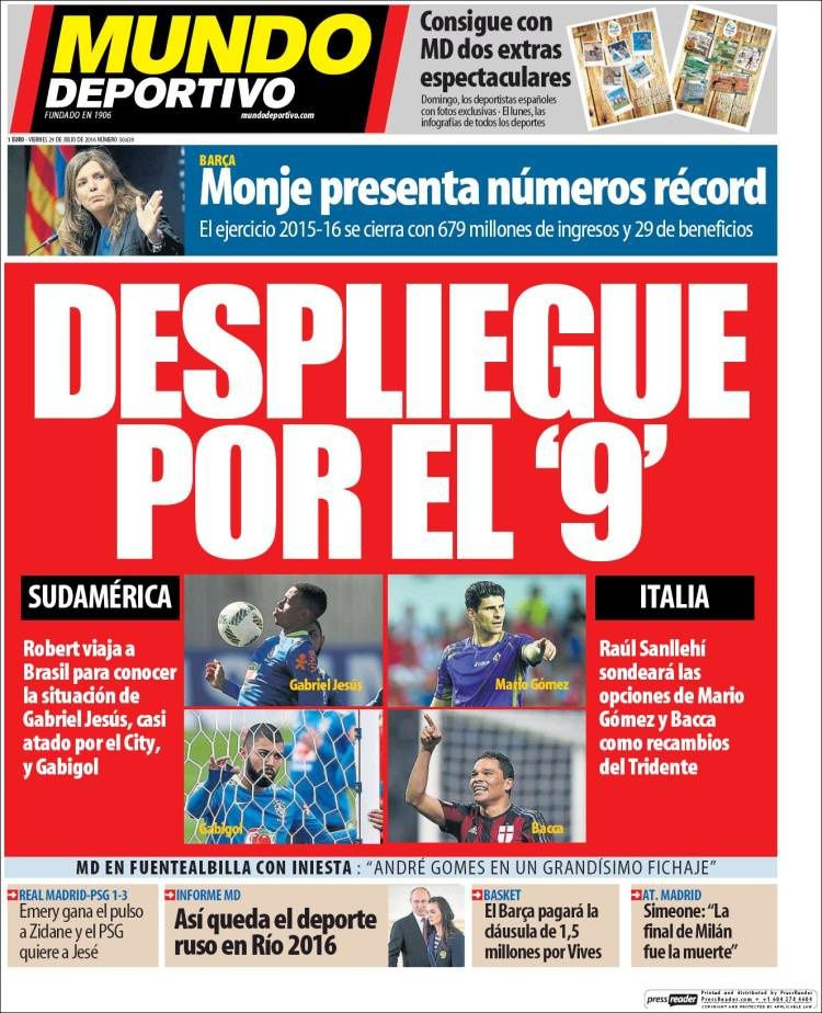 La Une de Mundo Deportivo aujourd'hui (29/07/2016) / La portada de Mundo Deportivo hoy (29/07/2016) / La portada de Mundo Deportivo avui (29/07/2016) / The today's Mundo Deportivo Cover (07/29/2016)