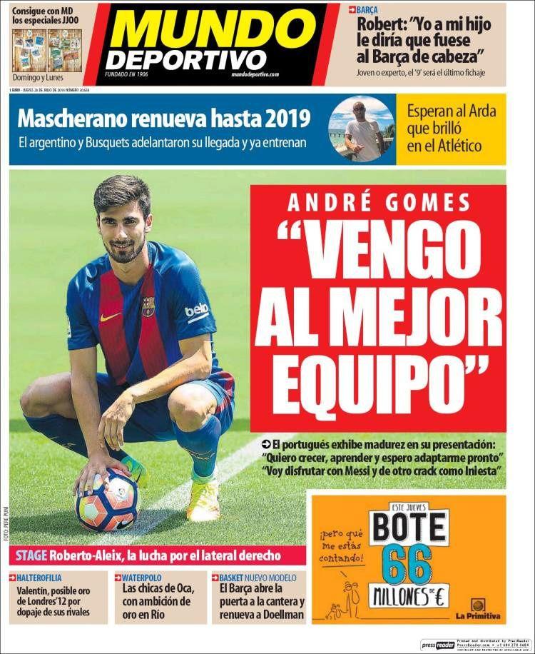 La Une de Mundo Deportivo aujourd'hui (28/07/2016) / La portada de Mundo Deportivo hoy (28/07/2016) / La portada de Mundo Deportivo avui (28/07/2016) / The today's Mundo Deportivo Cover (07/28/2016)