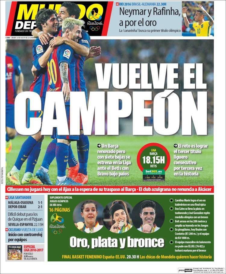 Unes de Mundo Deportivo (08/08/16 - 04/09/16)