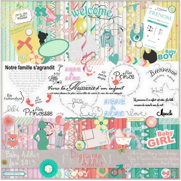 "Scrapbook large freebie ""Baby"" from Digiscrap Addict"