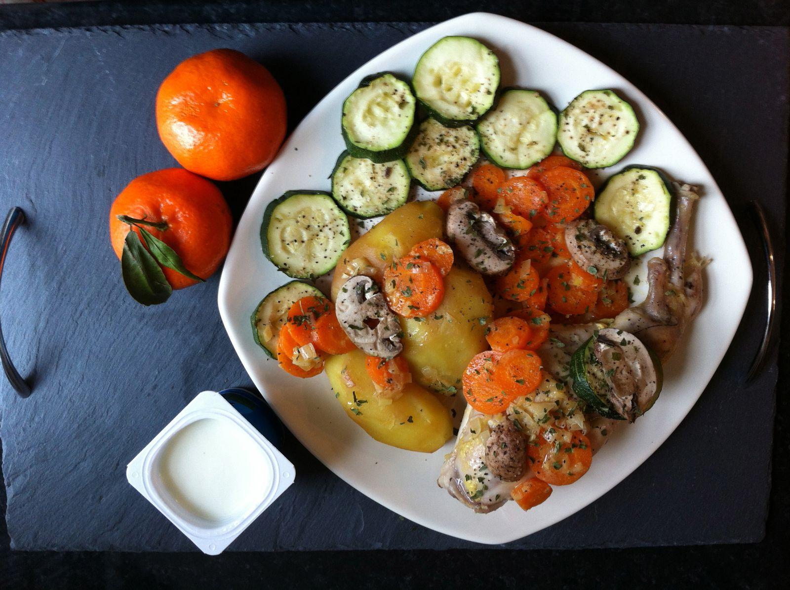 Lapin à la moutarde et ses petits légumes