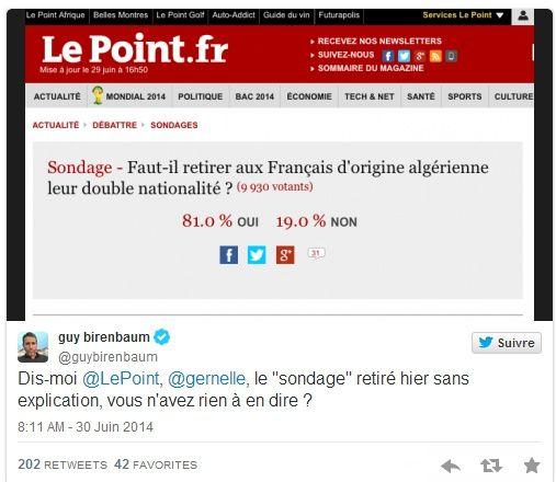 Aveux? « Le Point » admet avoir retiré un sondage « consternant » sur la double nationalité