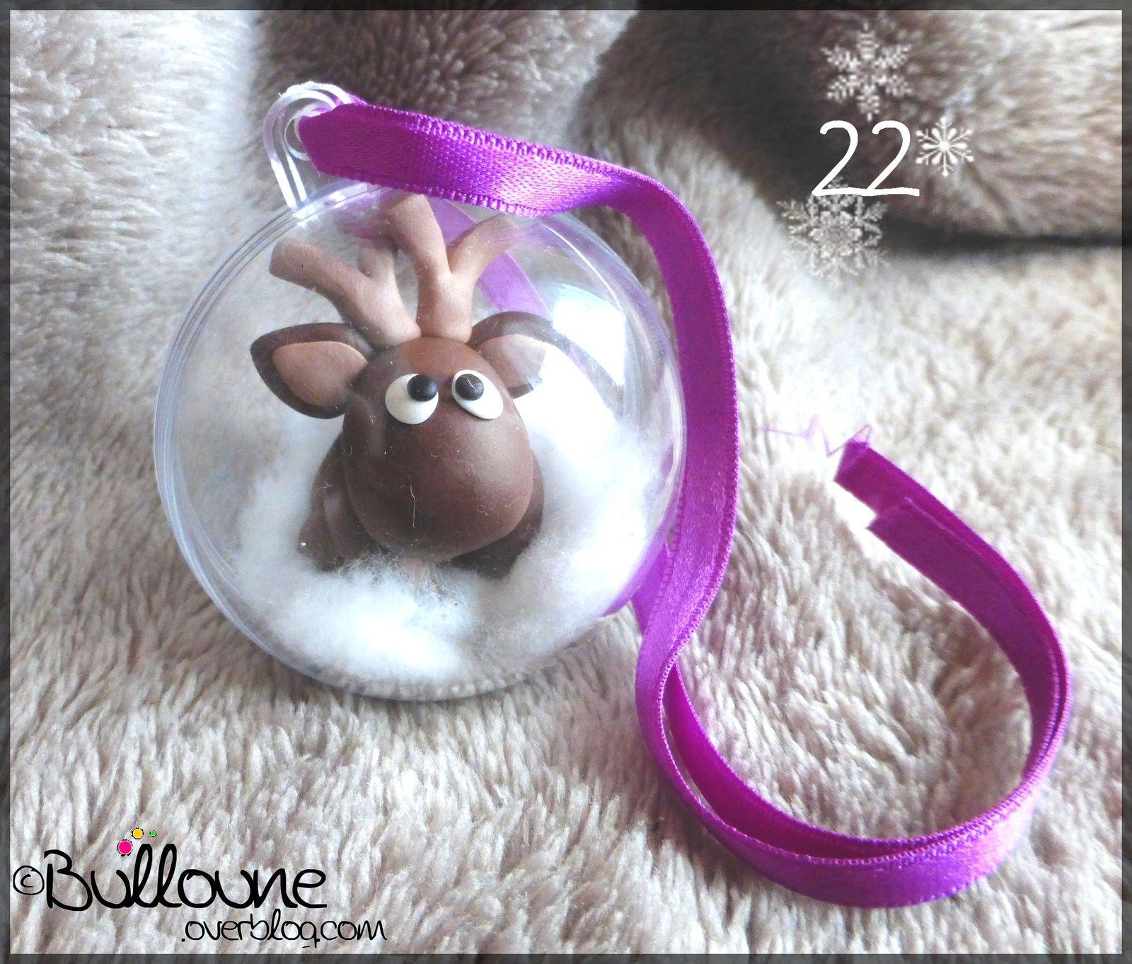 Renne - Boule de Noël - Fimo