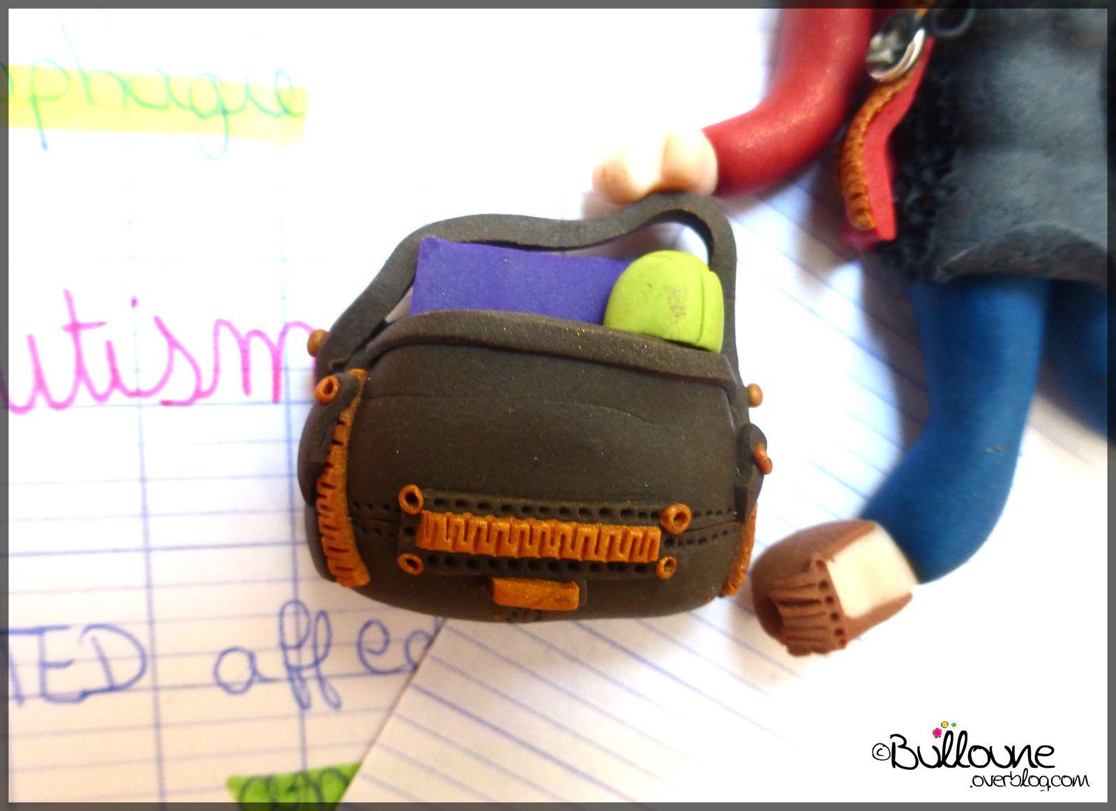 Rentrée - étudiante - sac à main - pochette d'ordinateur - Fimo
