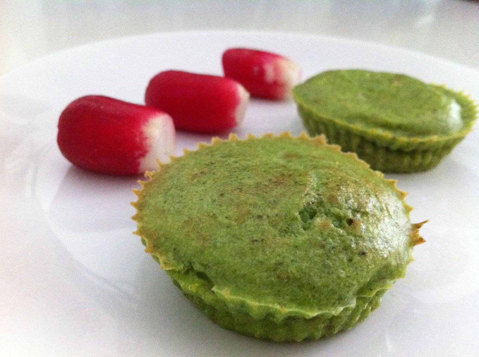 Petits muffins au pesto de fanes de radis
